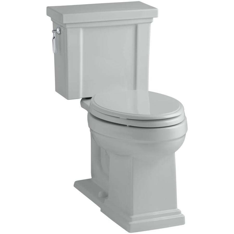 KOHLER Tresham Ice Grey WaterSense Labeled  Elongated Chair Height 2-piece Toilet 12-in Rough-In Size