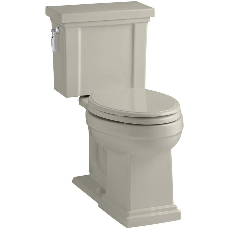 KOHLER Tresham Sandbar WaterSense Labeled  Elongated Chair Height 2-piece Toilet 12-in Rough-In Size