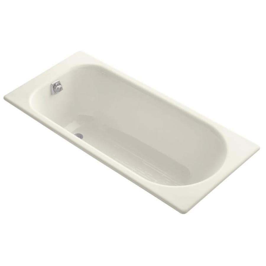 KOHLER Soissons Biscuit Cast Iron Oval In Rectangle Drop-in Bathtub with Reversible Drain (Common: 28-in x 59-in; Actual: 16-in x 27.5-in x 59-in)