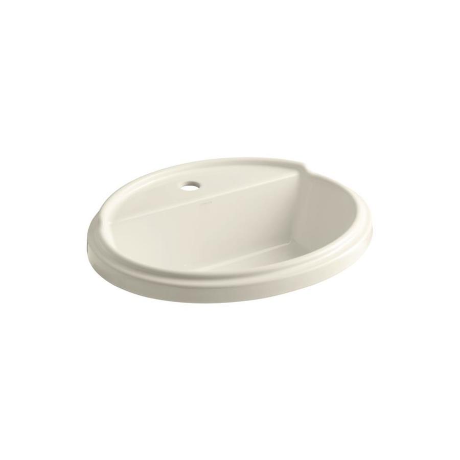 KOHLER Tresham Almond Drop-in Oval Bathroom Sink with Overflow