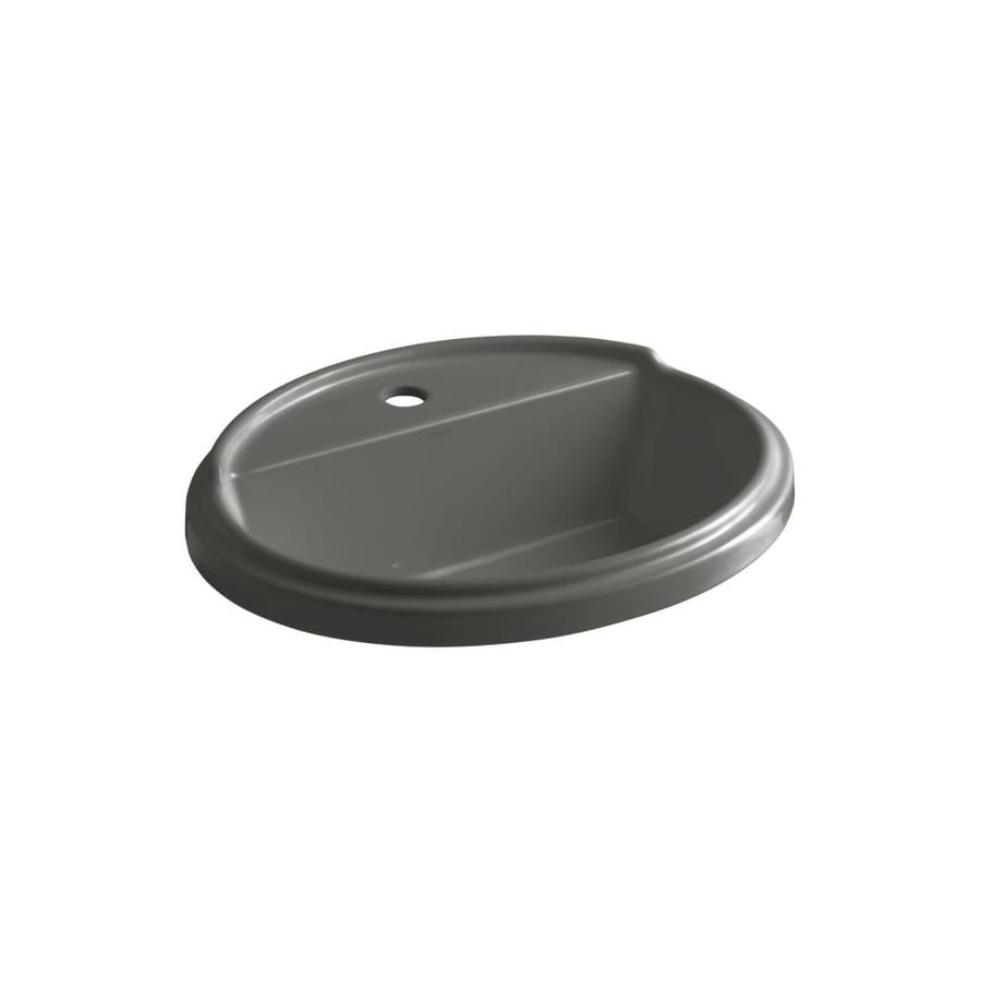 KOHLER Tresham Thunder Grey Drop-in Oval Bathroom Sink with Overflow