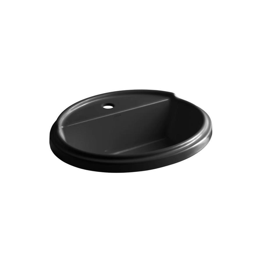 KOHLER Tresham Black Black Drop-in Oval Bathroom Sink with Overflow