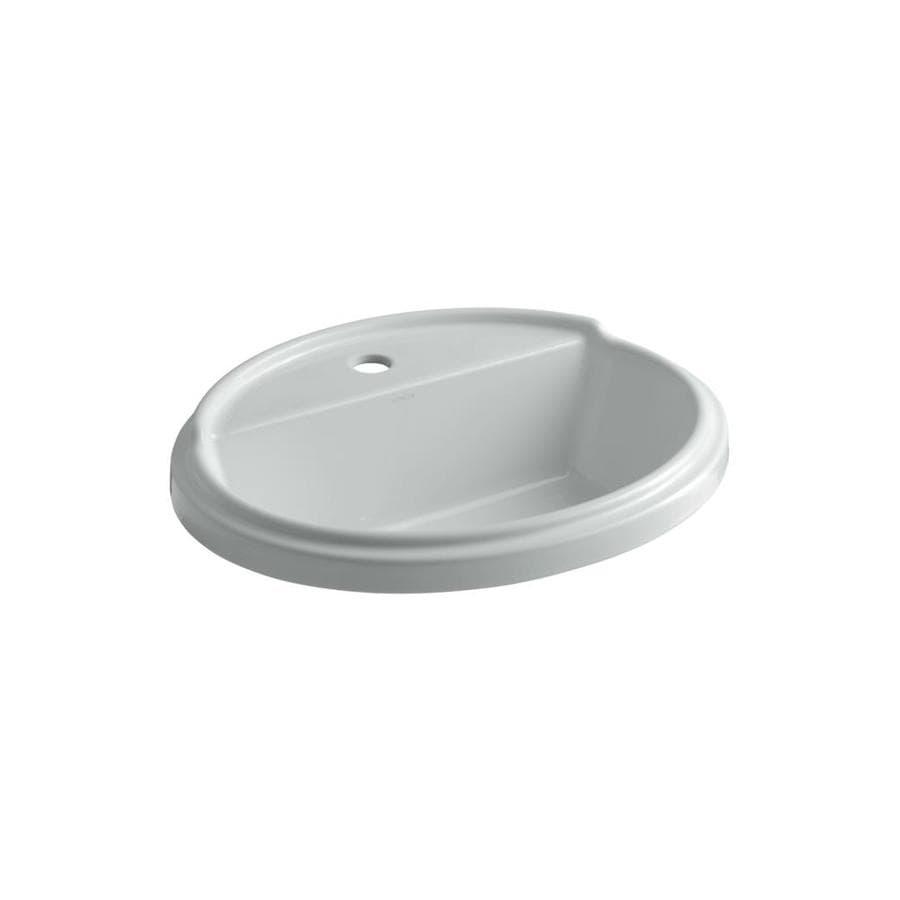 KOHLER Tresham Ice Grey Drop-in Oval Bathroom Sink with Overflow