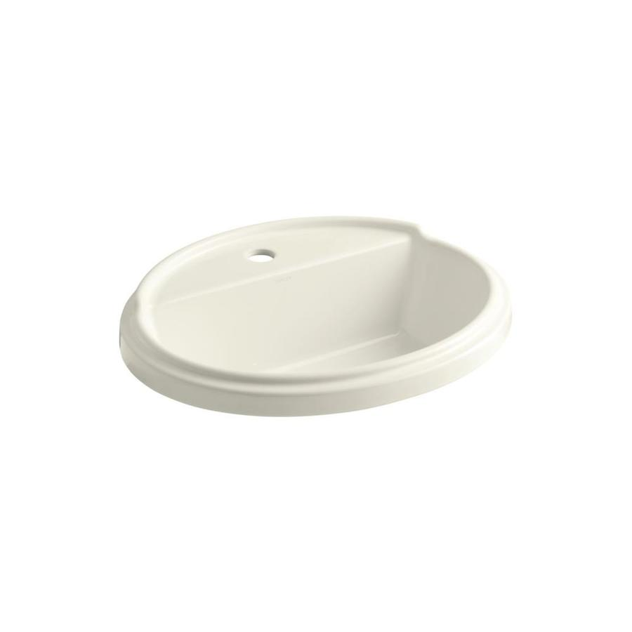 KOHLER Tresham Biscuit Drop-in Oval Bathroom Sink with Overflow