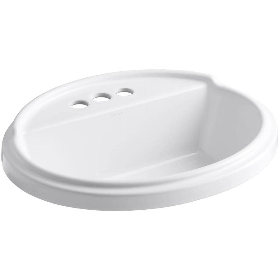 KOHLER Tresham White Drop-in Oval Bathroom Sink with Overflow