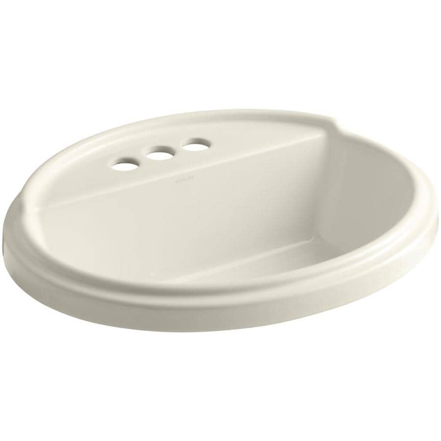 KOHLER Tresham Almond Drop-in Oval Bathroom Sink with Overflow