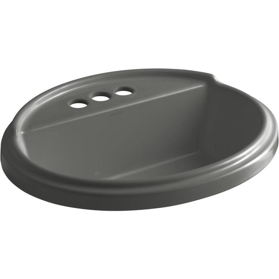 KOHLER Tresham Thunder Grey Drop-in Oval Bathroom Sink with Overflow