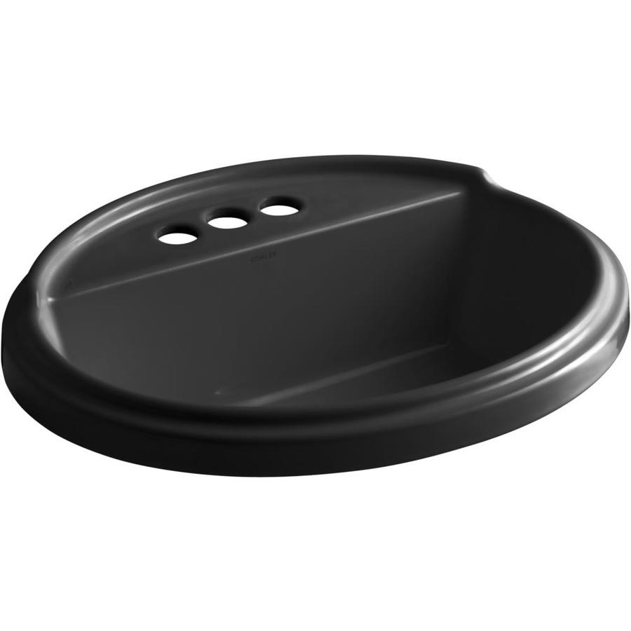 KOHLER Tresham Black Drop-in Oval Bathroom Sink with Overflow