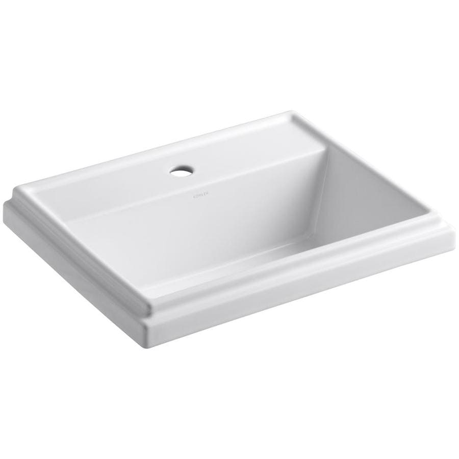 KOHLER Tresham White Drop-in Rectangular Bathroom Sink with Overflow