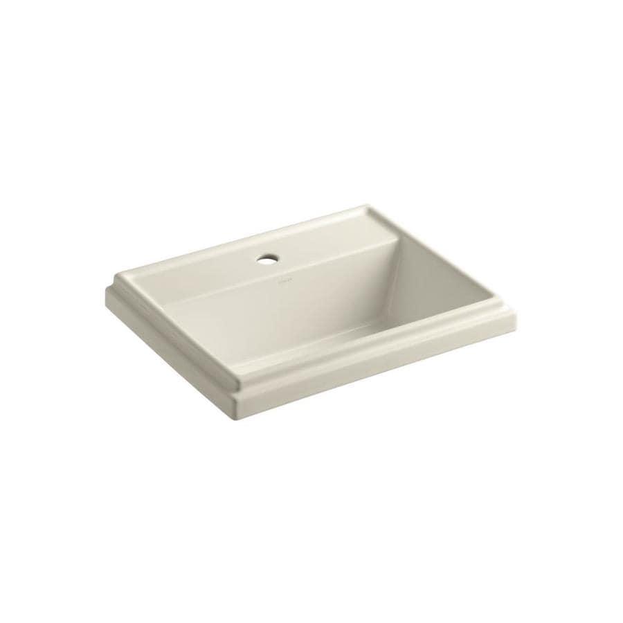 KOHLER Tresham Almond Drop-in Rectangular Bathroom Sink with Overflow
