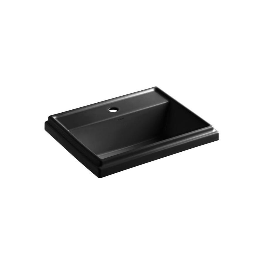 KOHLER Tresham Black Drop-in Rectangular Bathroom Sink with Overflow