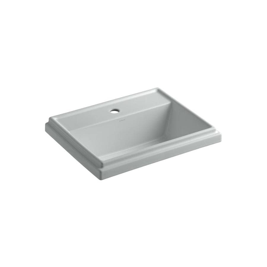 KOHLER Tresham Ice Grey Drop-in Rectangular Bathroom Sink with Overflow
