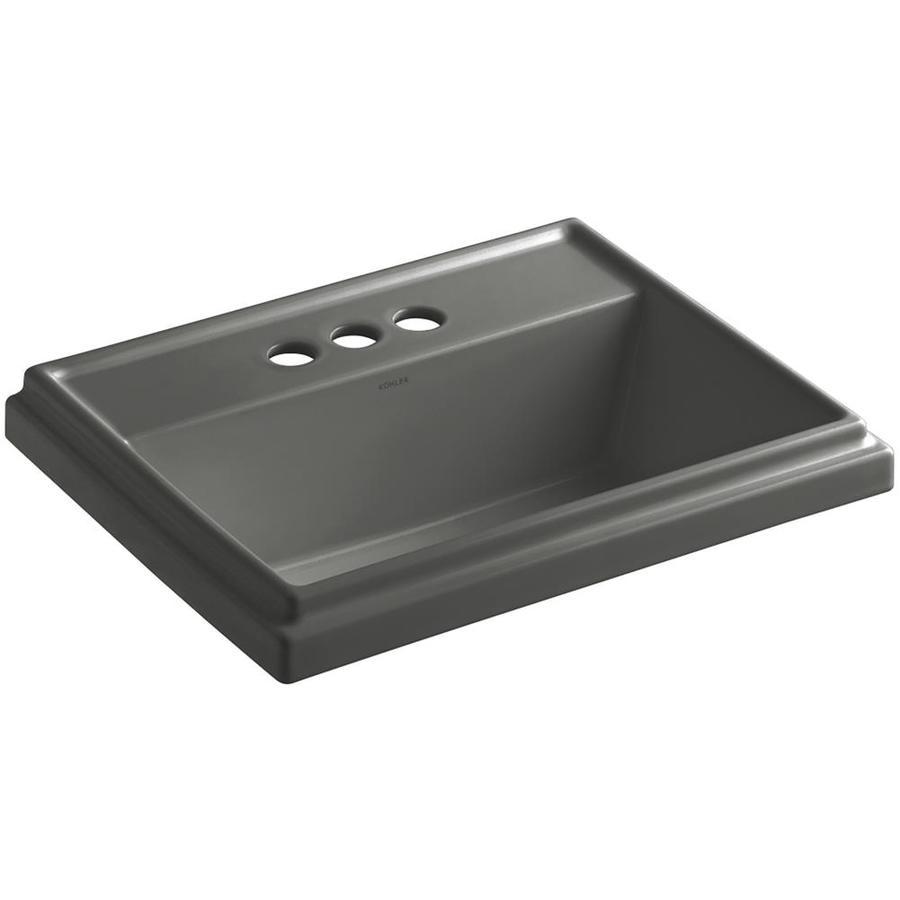 KOHLER Tresham Thunder Grey Drop-in Rectangular Bathroom Sink with Overflow