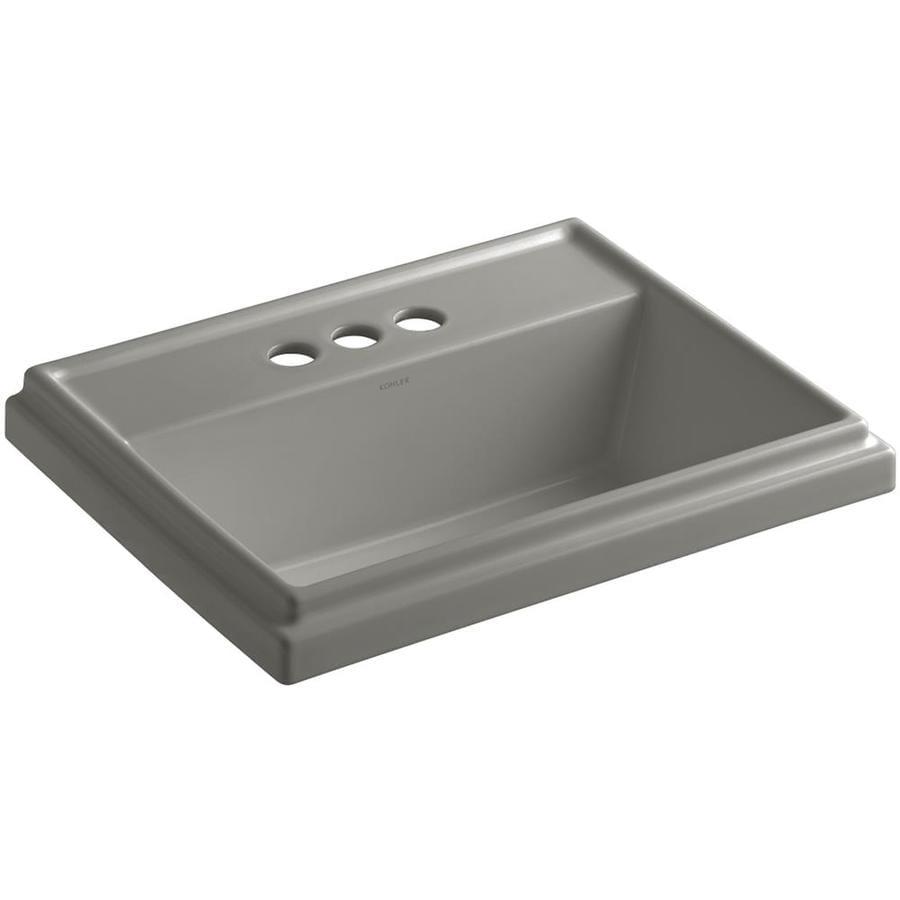 KOHLER Tresham Cashmere Drop-in Rectangular Bathroom Sink with Overflow