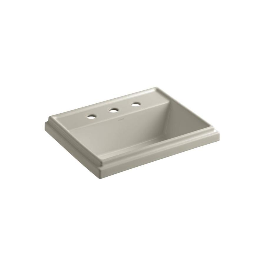 KOHLER Tresham Sandbar Drop-in Rectangular Bathroom Sink with Overflow