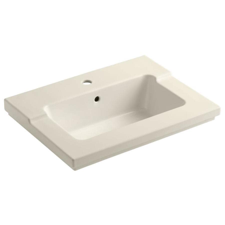 KOHLER Tresham Almond Vitreous China Integral Bathroom Vanity Top (Common: 20-in x 25-in; Actual: 19.0625-in x 25.4375-in)