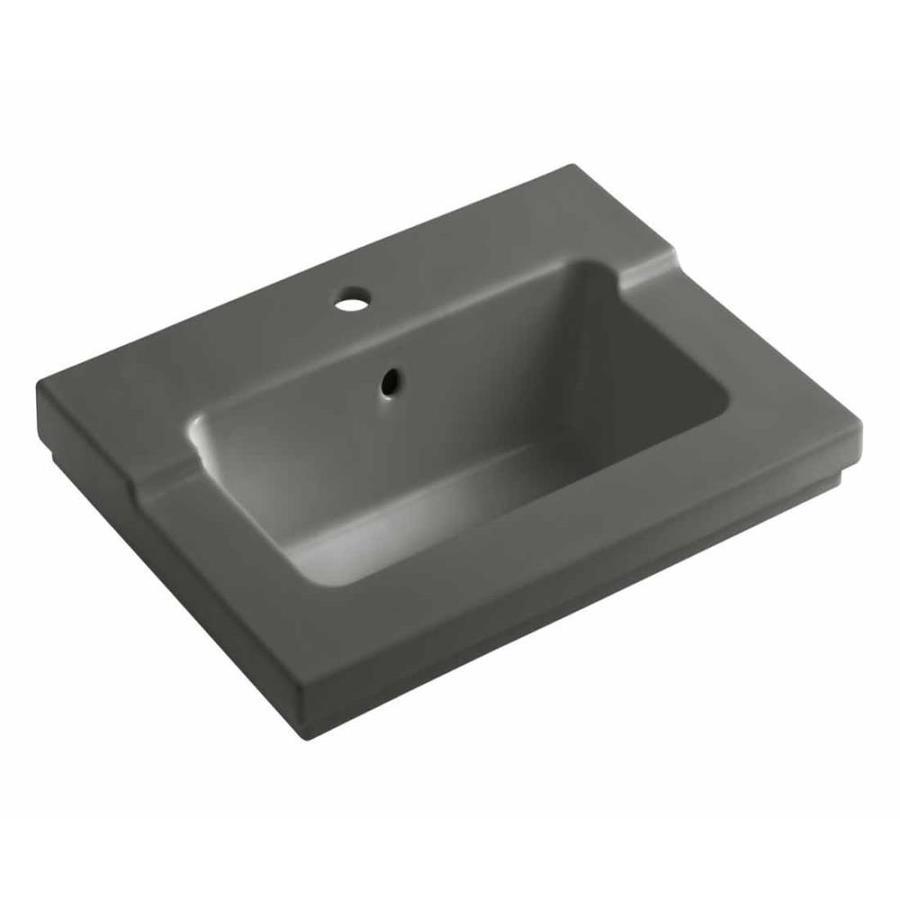 KOHLER Tresham Thunder Grey Vitreous China Integral Bathroom Vanity Top (Common: 20-in x 25-in; Actual: 19.0625-in x 25.4375-in)