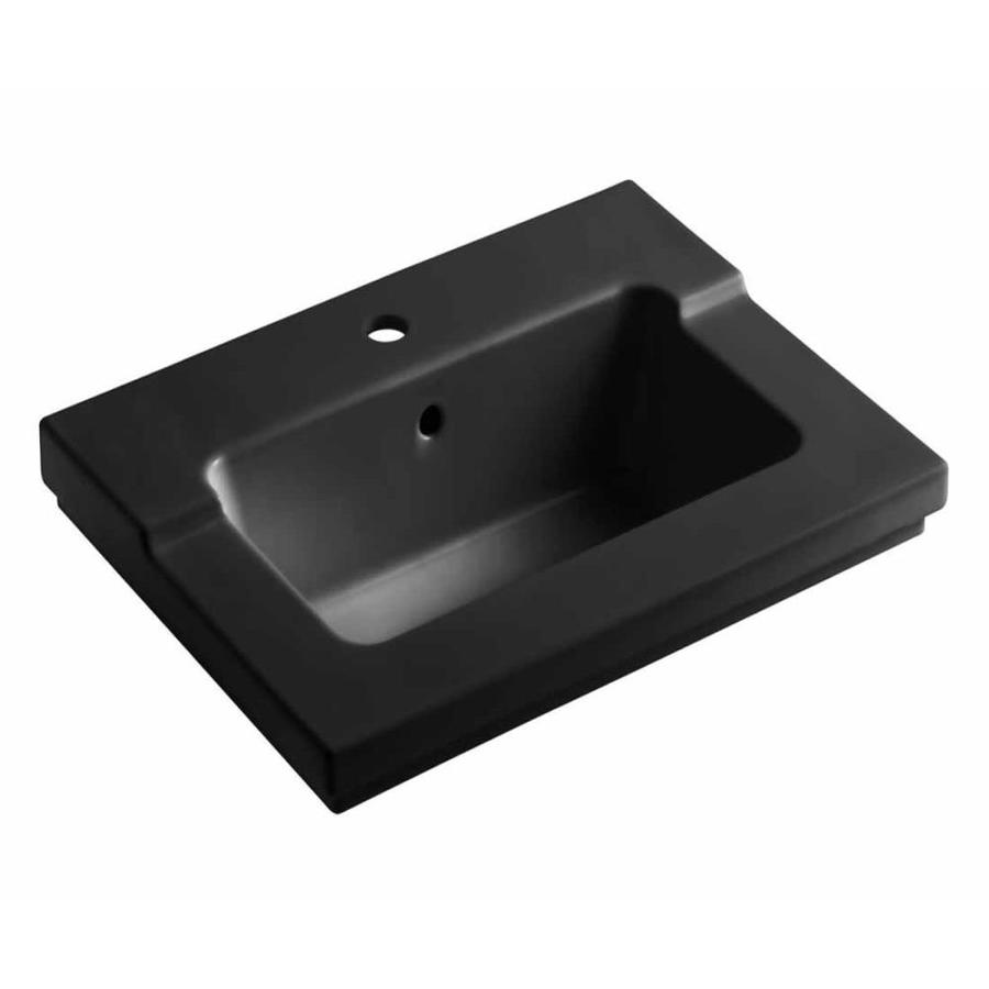 KOHLER Tresham Black Black Vitreous China Integral Bathroom Vanity Top (Common: 20-in x 25-in; Actual: 19.0625-in x 25.4375-in)