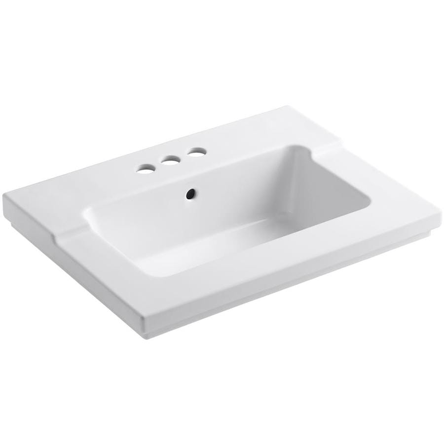 KOHLER Tresham White Vitreous China Integral Bathroom Vanity Top (Common: 20-in x 25-in; Actual: 19.0625-in x 25.4375-in)