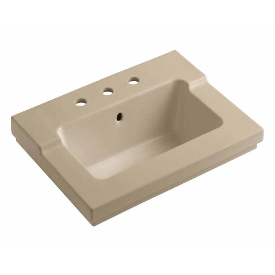 KOHLER Tresham Mexican Sand Vitreous China Integral Bathroom Vanity Top (Common: 20-in x 25-in; Actual: 19.0625-in x 25.4375-in)