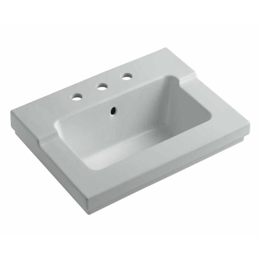 KOHLER Tresham Ice Grey Vitreous China Integral Bathroom Vanity Top (Common: 20-in x 25-in; Actual: 19.0625-in x 25.4375-in)