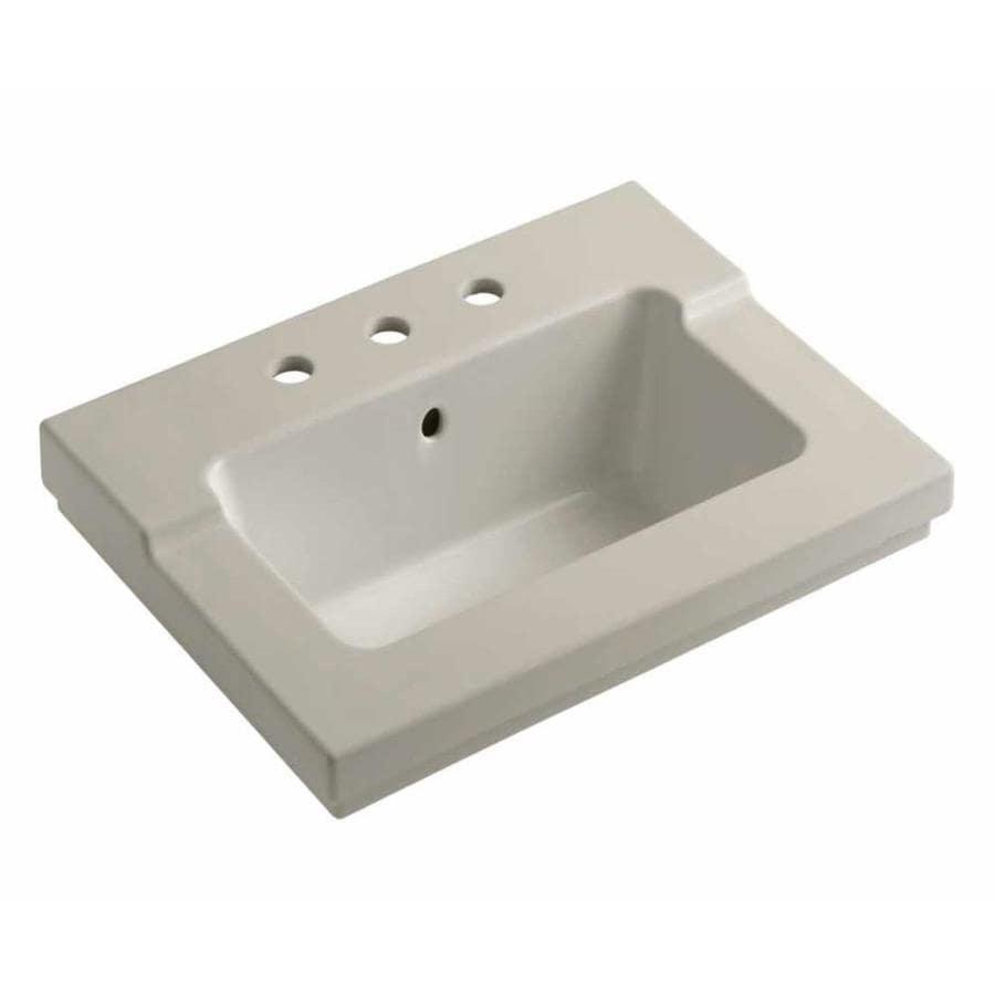KOHLER Tresham Sandbar Vitreous China Integral Bathroom Vanity Top (Common: 20-in x 25-in; Actual: 19.0625-in x 25.4375-in)