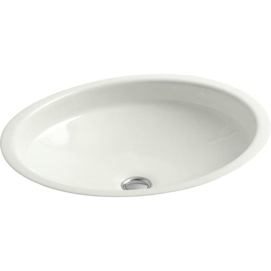 KOHLER Canvas Dune Cast Iron Undermount Oval Bathroom Sink with Overflow