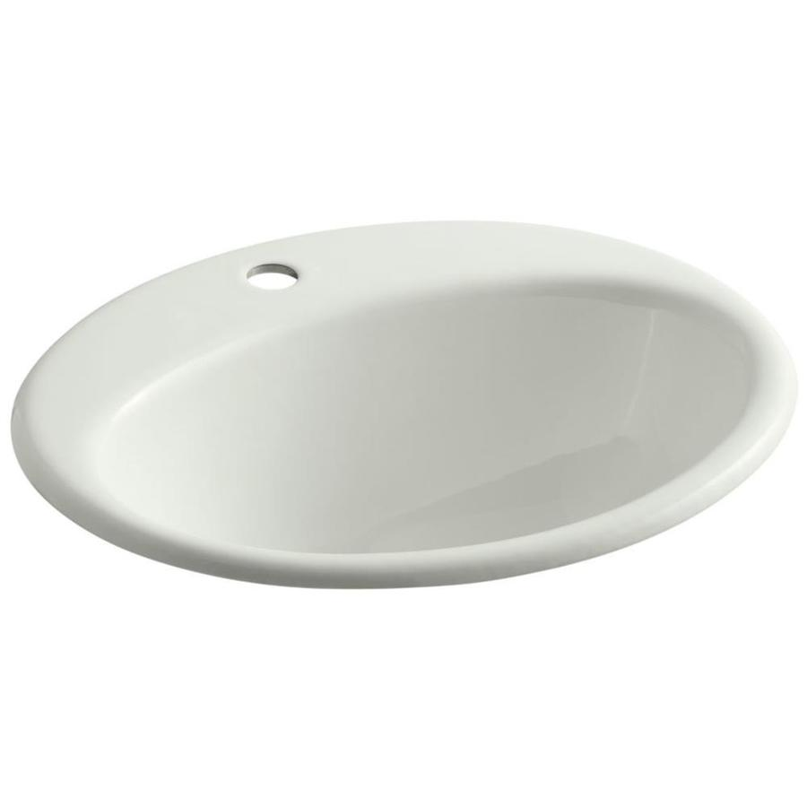 Shop Kohler Farminton Dune Cast Iron Drop In Oval Bathroom Sink With Overflow At