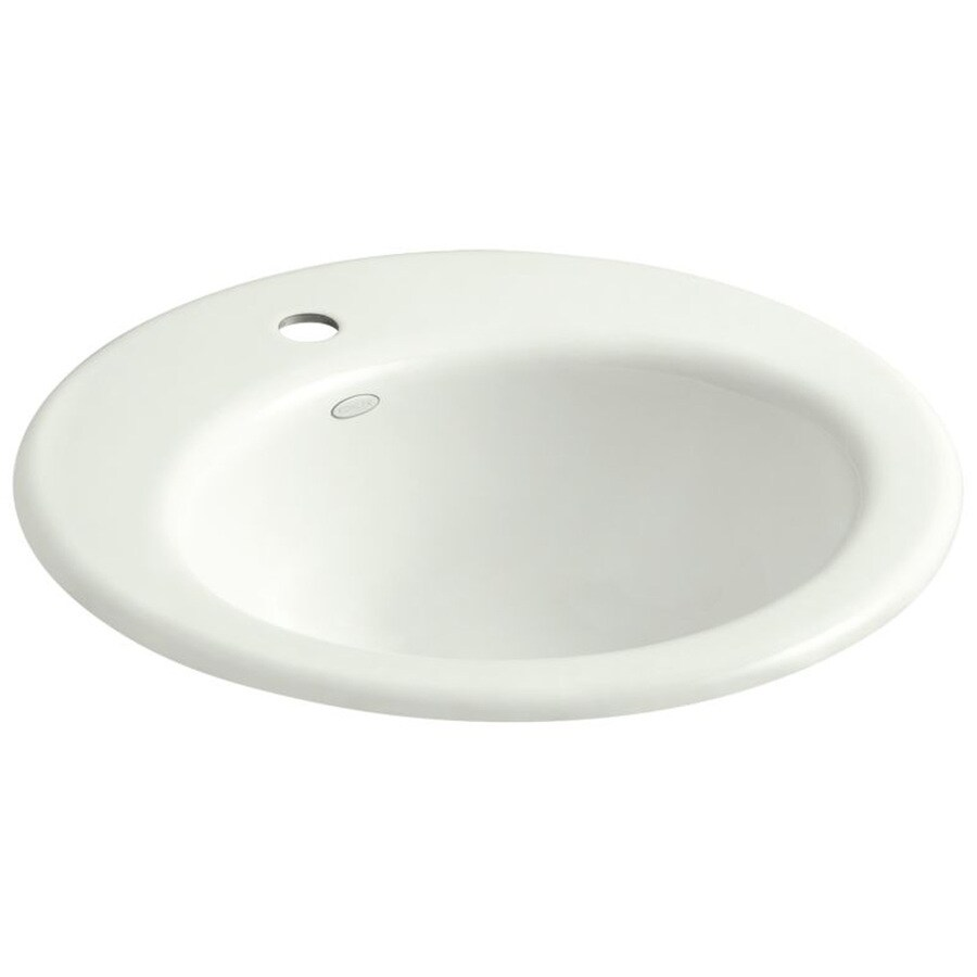 KOHLER Radiant Dune Cast Iron Drop-in Elliptical Bathroom Sink with Overflow