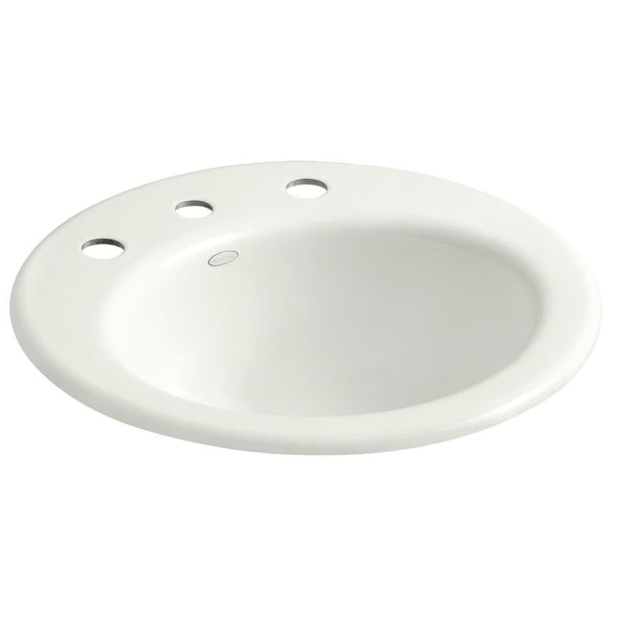 KOHLER Radiant Dune Cast Iron Drop-in Round Bathroom Sink with Overflow