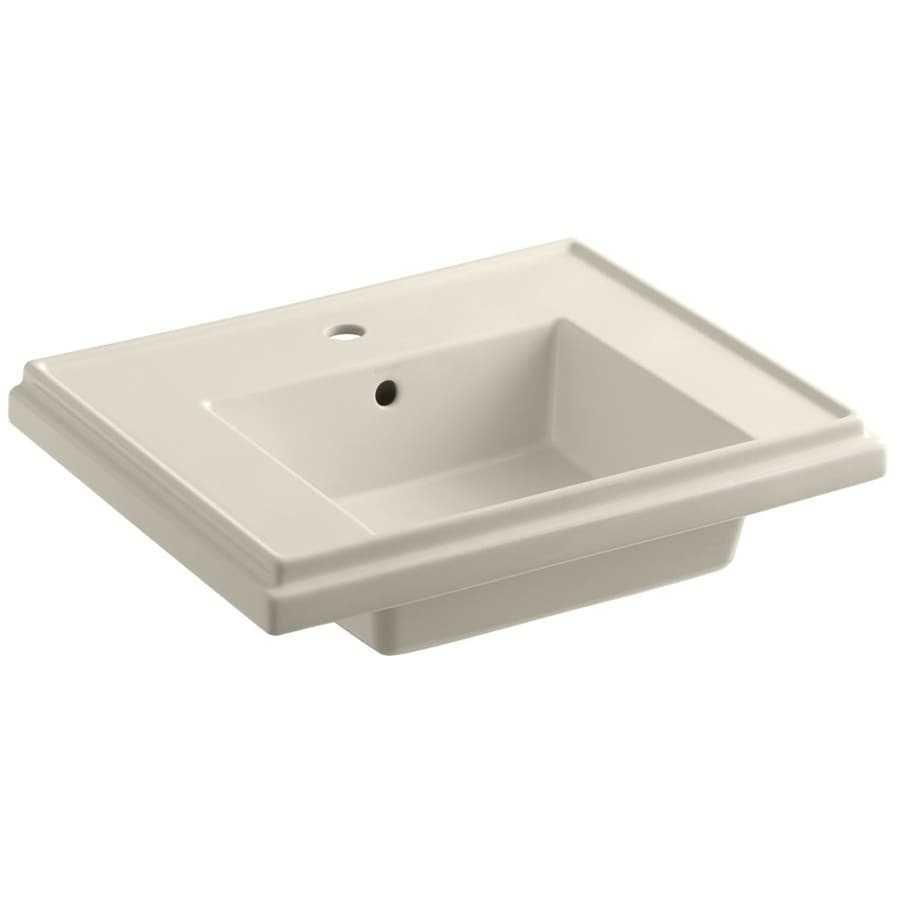 KOHLER Treshman 24-in L x 19.5-in W Almond Fire Clay Square Pedestal Sink Top