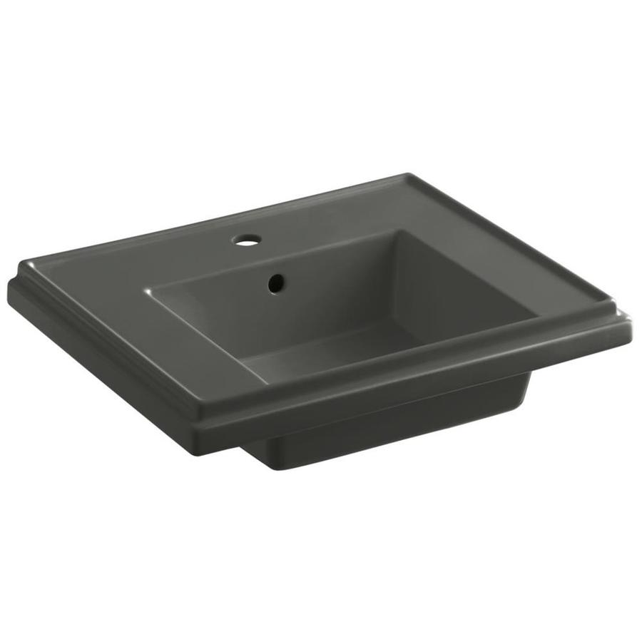 KOHLER Treshman 24-in L x 19.5-in W Thunder Grey Fire Clay Square Pedestal Sink Top