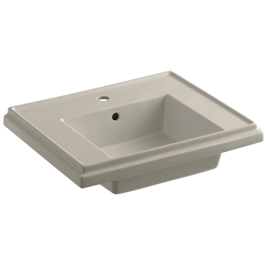 KOHLER Treshman 24-in L x 19.5-in W Sandbar Fire Clay Square Pedestal Sink Top