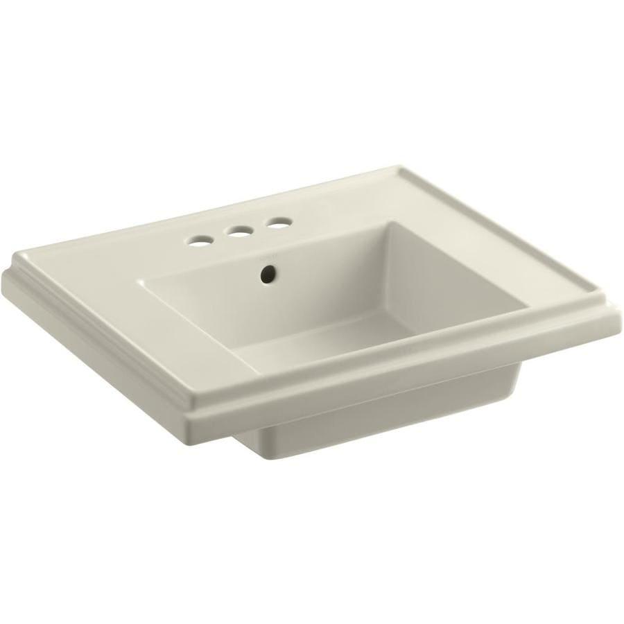 KOHLER Treshman 24-in L x 19.5-in W Almond Fire Clay Square Pedestal Sink Top
