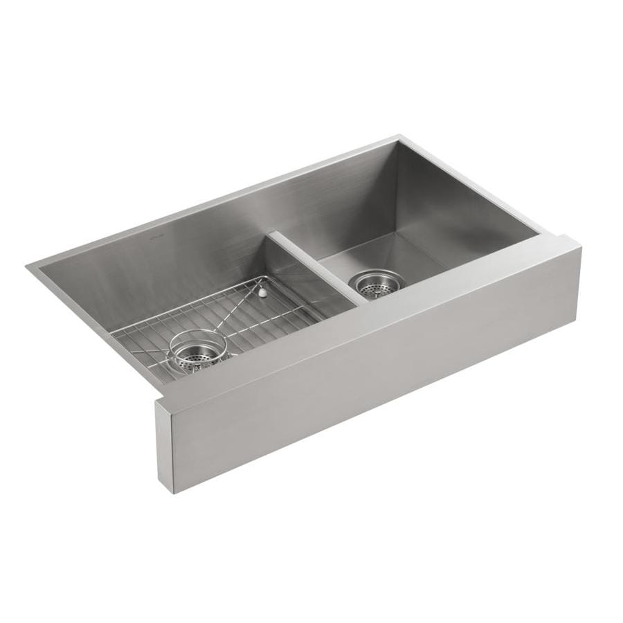 KOHLER Vault 21.25-in x 35.5-in Double-Basin Stainless Steel Apron Front/Farmhouse Residential Kitchen Sink