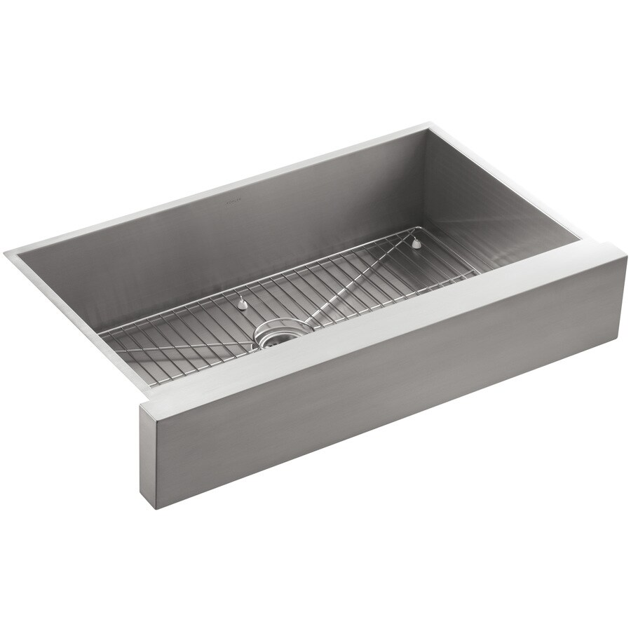 KOHLER Vault 21.25-in x 35.5-in Stainless Steel 1 Stainless Steel Apron Front/Farmhouse (Customizable)-Hole Residential Kitchen Sink