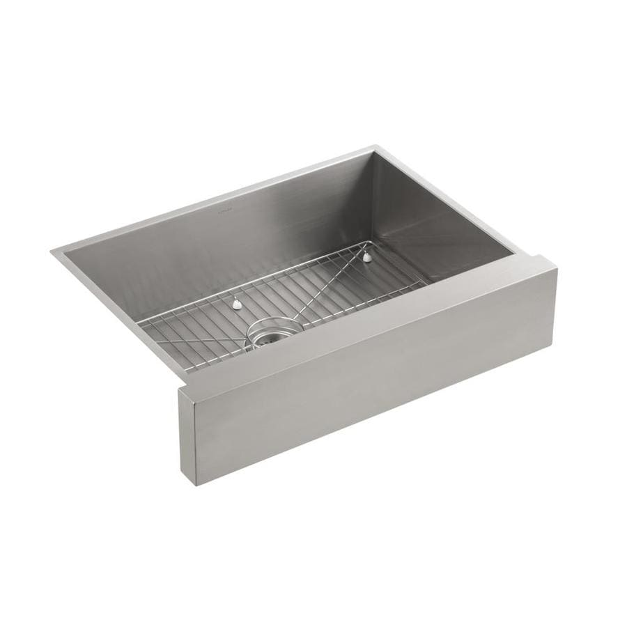 KOHLER Vault 21.25-in x 29.5-in Single-Basin Stainless Steel Apron Front/Farmhouse Residential Kitchen Sink