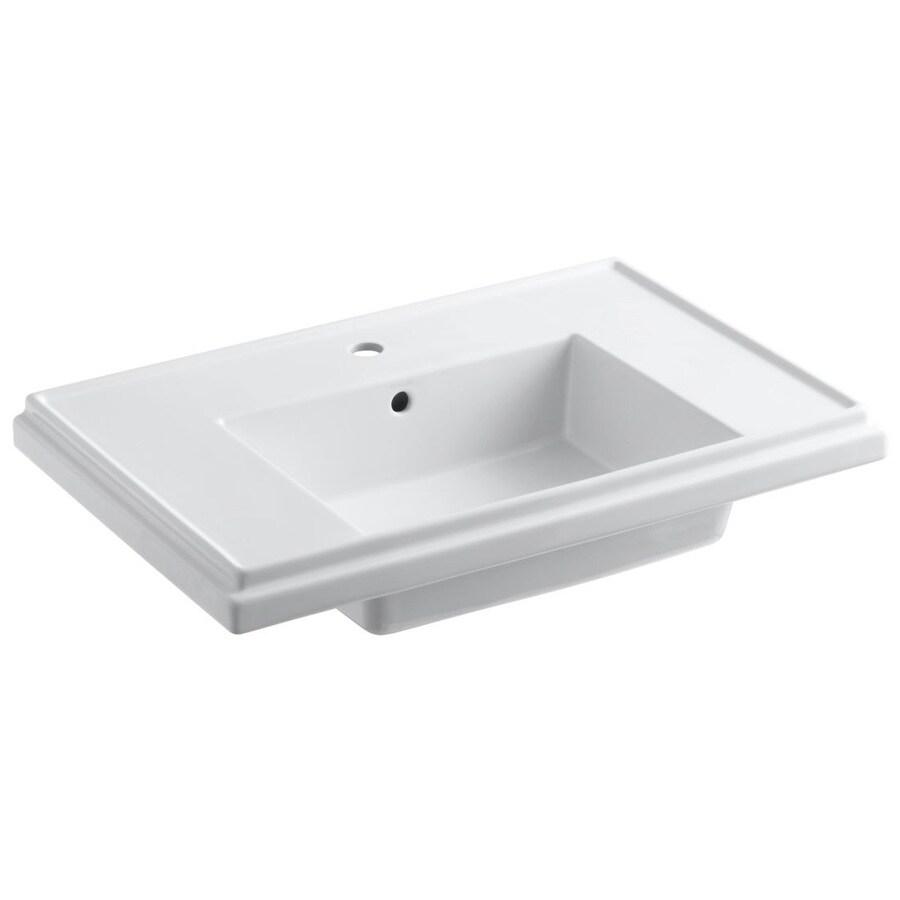 KOHLER Treshman 24-in L x 19.5-in W White Fire Clay Square Pedestal Sink Top