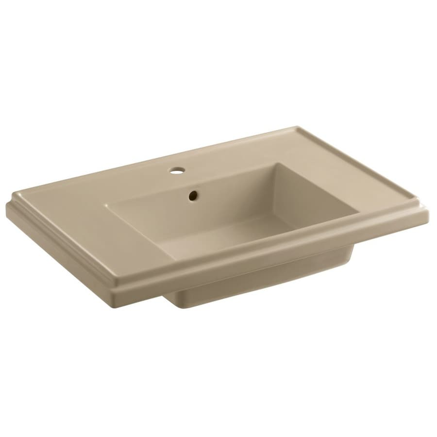 KOHLER Treshman 24-in L x 19.5-in W Mexican Sand Fire Clay Square Pedestal Sink Top