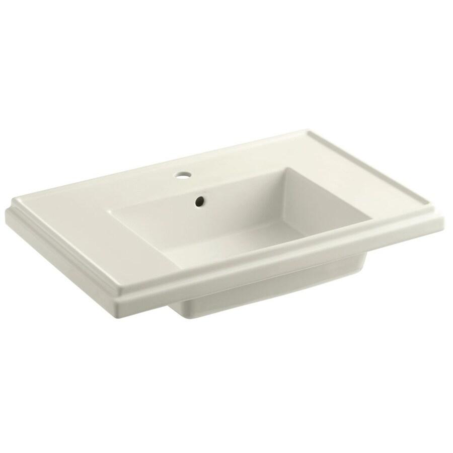 KOHLER Treshman 24-in L x 19.5-in W Biscuit Fire Clay Square Pedestal Sink Top