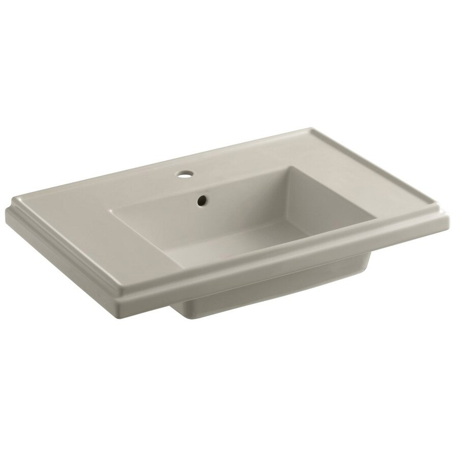 KOHLER Treshman 24-in L x 19.5-in W Sandbar Fire Clay Square Pedestal Sink Top