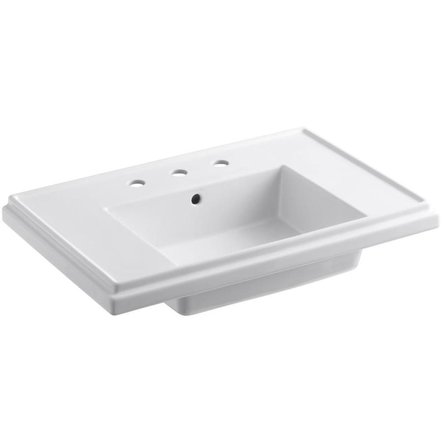 KOHLER Tresham 30-in L x 19.5-in W White Fire Clay Rectangular Pedestal Sink Top