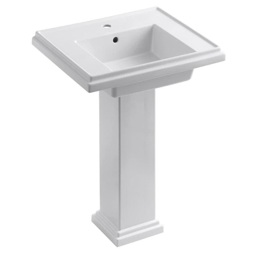 KOHLER Tresham 34.625-in H White Fire Clay Pedestal Sink