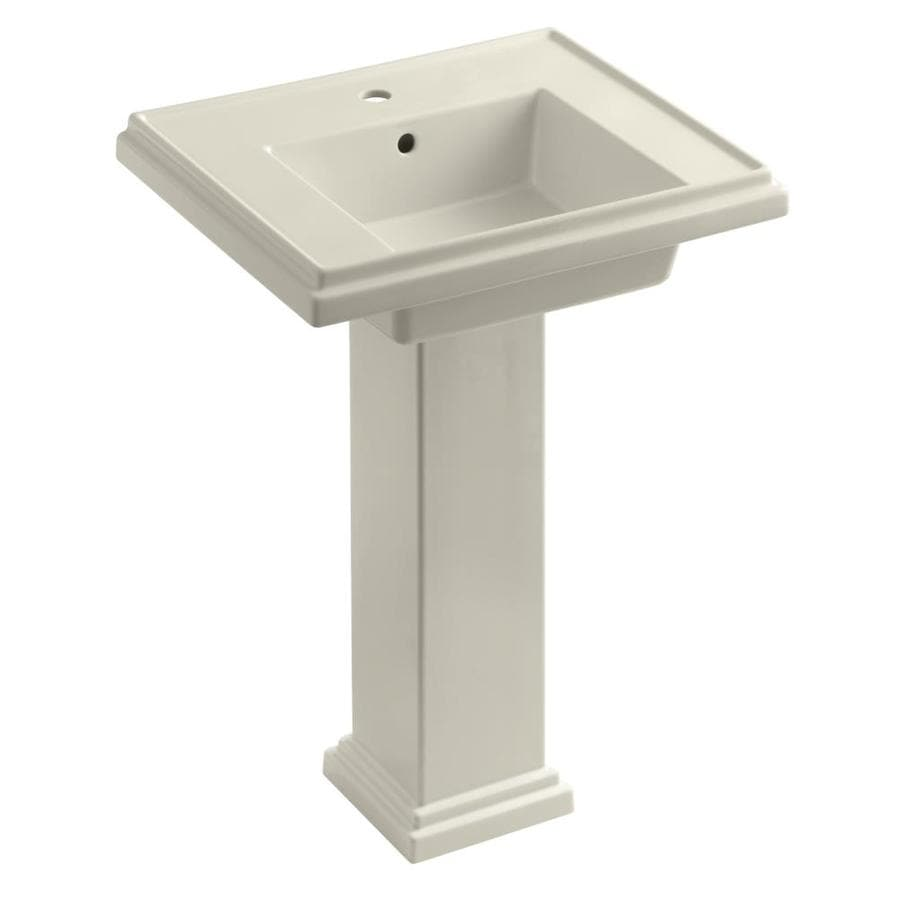 KOHLER Tresham 34.625-in H Almond Fire Clay Pedestal Sink