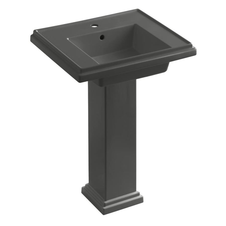 KOHLER Tresham 34.625-in H Thunder Grey Fire Clay Pedestal Sink