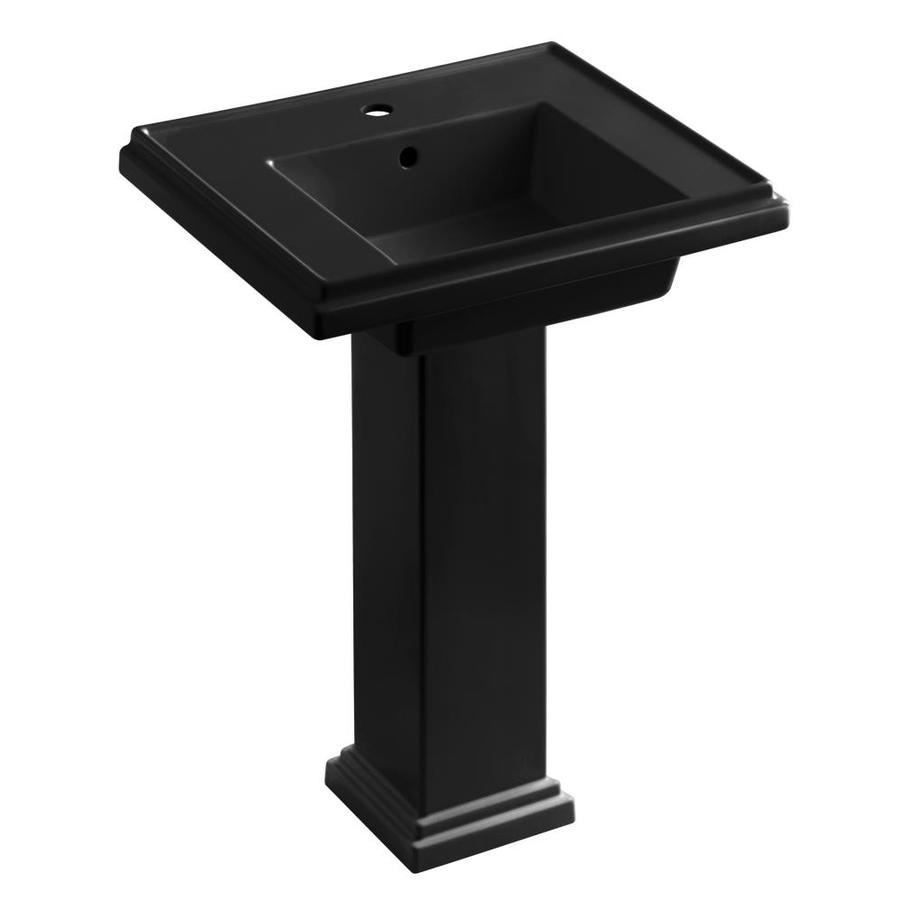 KOHLER Tresham 34.625-in H Black Black Fire Clay Pedestal Sink
