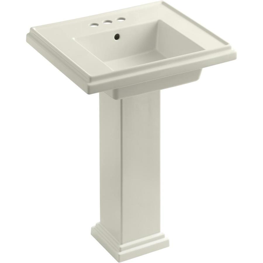 KOHLER Tresham 34.625-in H Biscuit Fire Clay Pedestal Sink