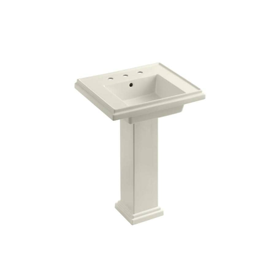 KOHLER Tresham 34.625-in H Biscuit Fire Clay Pedestal Sink
