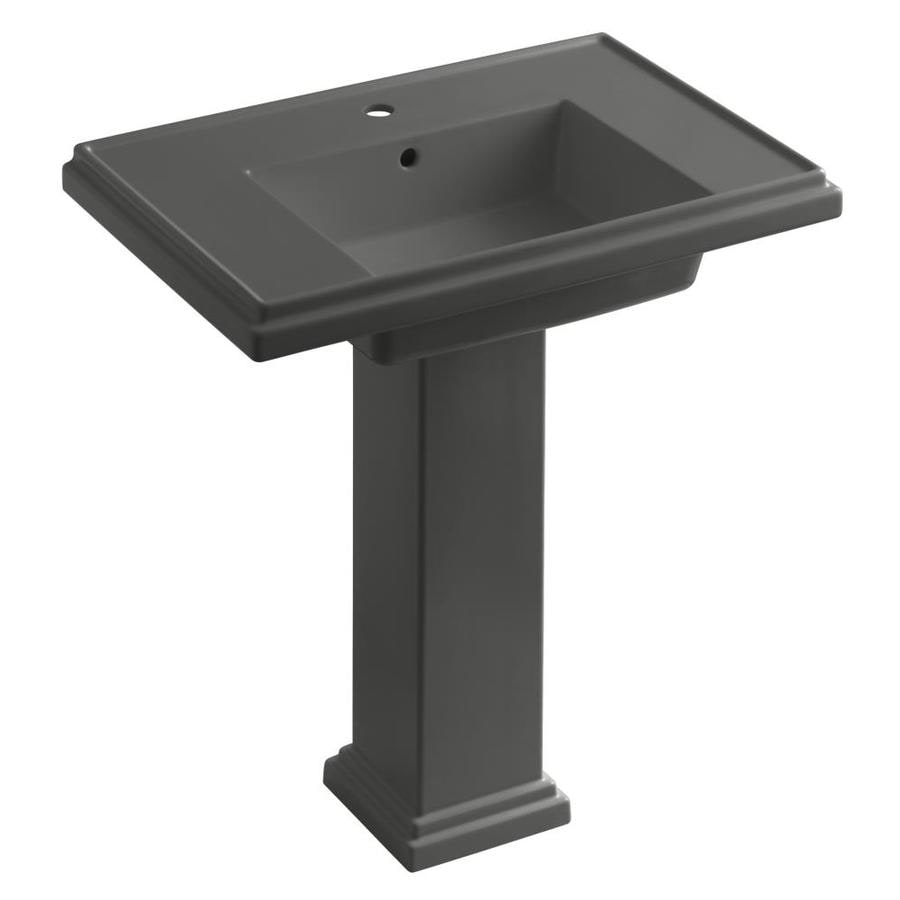 KOHLER Tresham 34.625-in H Thunder Grey Fire Clay Pedestal Sink