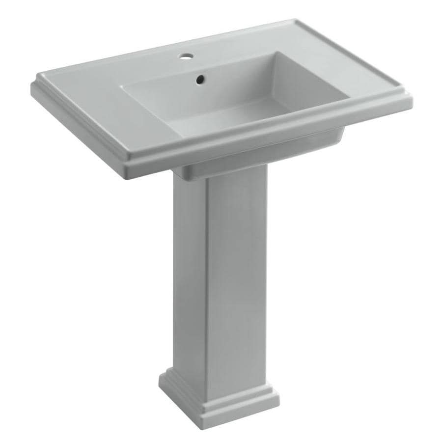 KOHLER Tresham 34.625-in H Ice Grey Fire Clay Pedestal Sink